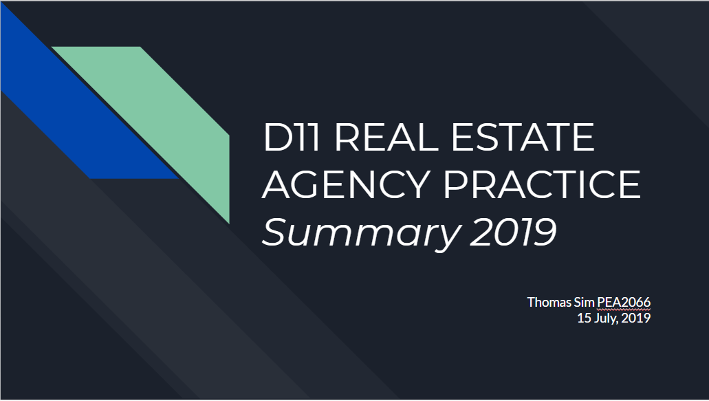 Summary Series – D11 Real Estate Agency Practice